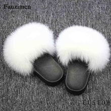 New Real Fox Fur New Slippers Women Fur Home Fluffy Sliders Plush Furry Summer Flats Cut Ladies Shoes Large Hot Selling