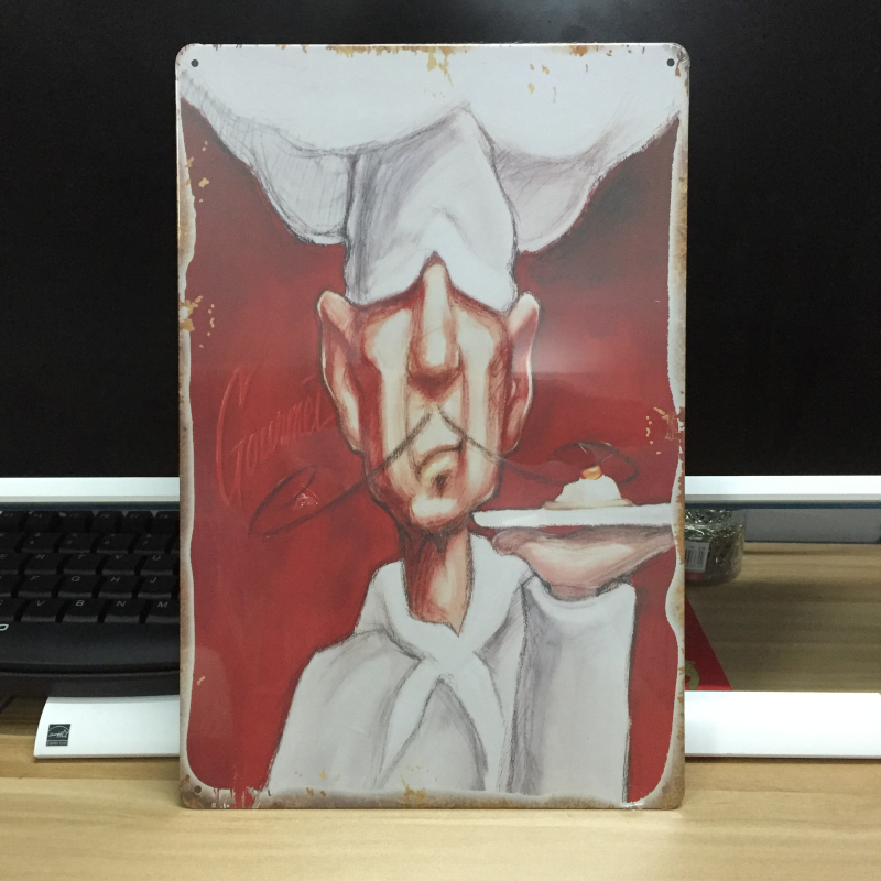 Cartoon COOKING CHEF FOOD Antique decor Vintage garage poster Metal tin signs wall art retro painting 20*30 cm free ship