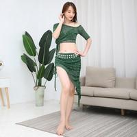 2019 New Women Belly Dance Clothes Sequins Suit 2 Pieces Costume Set Class Wear Plus Size Top & Short Skirt