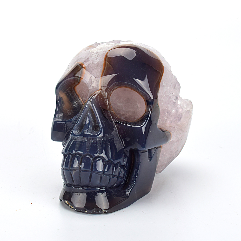 4.2 Home Decor Crystal Skull Statue Carved Natural Agate Geode Healing Crystal Skull Sculpture Christmas Gift  Art Collection4.2 Home Decor Crystal Skull Statue Carved Natural Agate Geode Healing Crystal Skull Sculpture Christmas Gift  Art Collection