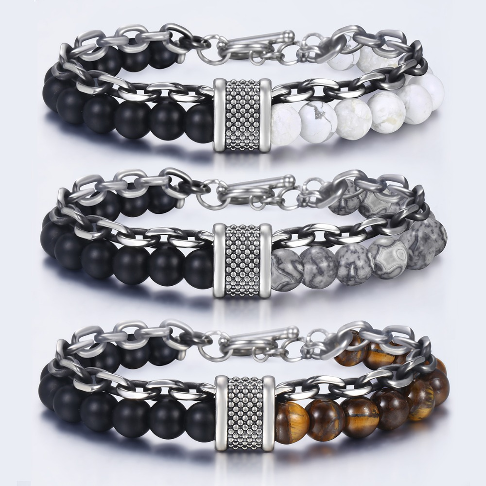 Trendsmax Natural Map Stone Men s Beaded Bracelet for women Stainless Steel Bracelets Male Jewelry Tiger