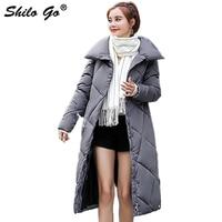Streetwear grey women parkas coat Winter single breasted long coat Elegant Lapel collar side pocket cotton coat thicken outwear