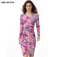 Élégant Femmes sac à dos hanche robe robe vintage remise femme vêtements pas cher vêtements chine Longueur Au Genou fleur imprimé floral robe