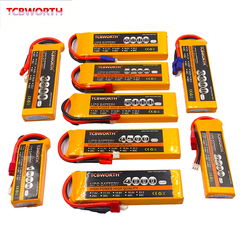 <font><b>2S</b></font> 7.4V 1200 3500 4200 4500 5200 <font><b>6000mAh</b></font> 25C 35C 60C RC Car <font><b>LiPo</b></font> Battery <font><b>2S</b></font> For RC Airplane Quadrotor Boat Aircraft Drone <font><b>LiPo</b></font> image