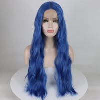 Marquesha Purple Blue Synthetic Lace Front Wig Long Light Wavy Lace Front Synthetic Wigs For Women