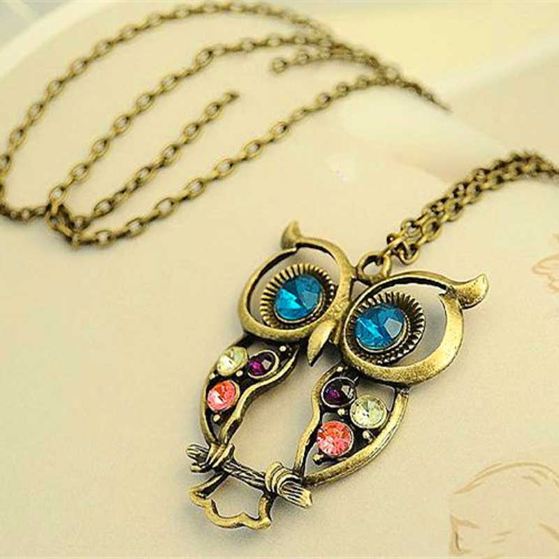 2016 Hot New Fashion Hot Sale Retro Color Block Drill Hollowing Carved Cute Owl Necklace animals Jewelry X15