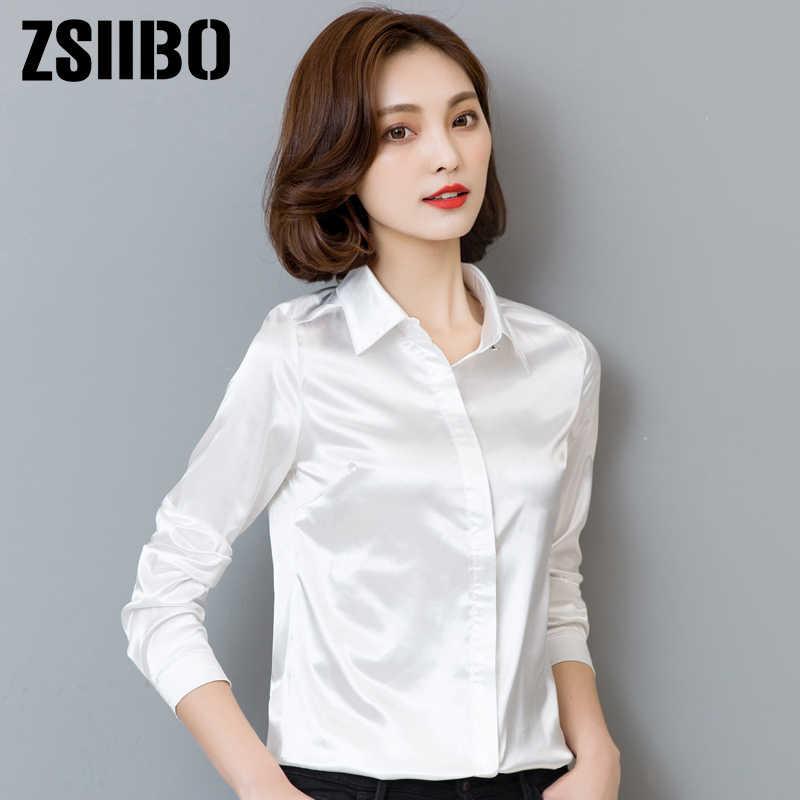 Корейский стиль Летняя женская блузка с длинным рукавом Элегантная Шелковая белая рубашка офисные женские атласные топы Плюс Размер Женская одежда
