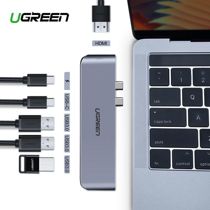 Ugreen USB C HUB Dual Tipo C per USB 3.0 Splitter HDMI Adattatore per MacBook Pro 2016/2017/ 2018 Thunderbolt 3 USB-C Porta USB HUB