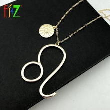 F.J4Z Hot 12 Zodiacs Necklace Baroque Women Sign Pendant Golden Alloy Horoscope Collar Jewelry Collection