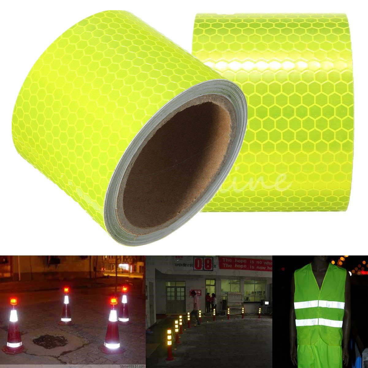 For 300cm Fluorescence Yellow Reflective Safety Warning Conspicuity Tape pasted on ground or object surface цена 2017