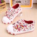 Весна Осень 2016 Новая Мода детские Холст Обувь Женские Девушки Повседневная Обувь Дети Кроссовки Цветок Chaussure Enfant