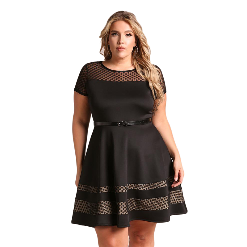 New Sexy Black Mesh Mini Dress Plus Size 4XL Women Summer Dresses Casual Mesh Vintage Beads Pearl Party Big Women Dress