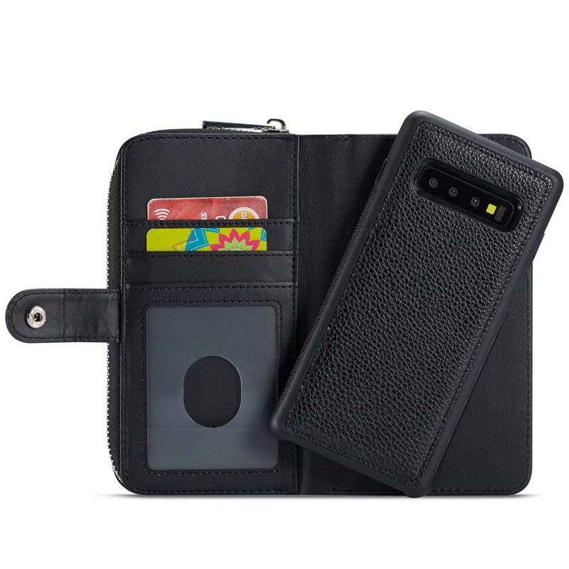 Zipper Purse Case For Samsung Galaxy S10 Plus S10e Cover Handbag Pouch PU Leather Detachable Wallet Case For Samsung S10 S10plus