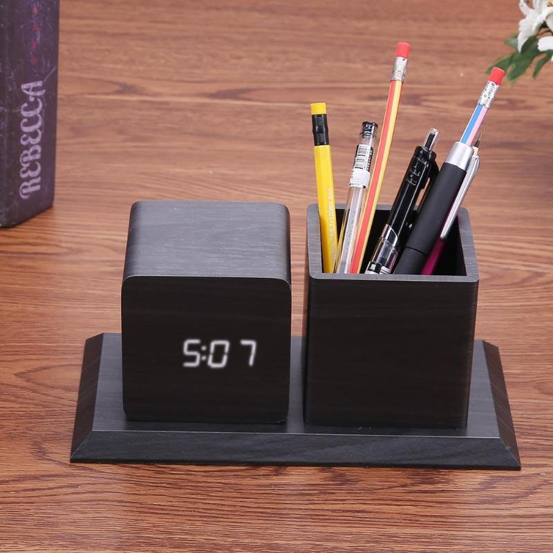 Sound Control Digital Electronic LED Alarm Clock Pencil Pen Holder Time Date Temp Display Desk Organizer Office Accessories