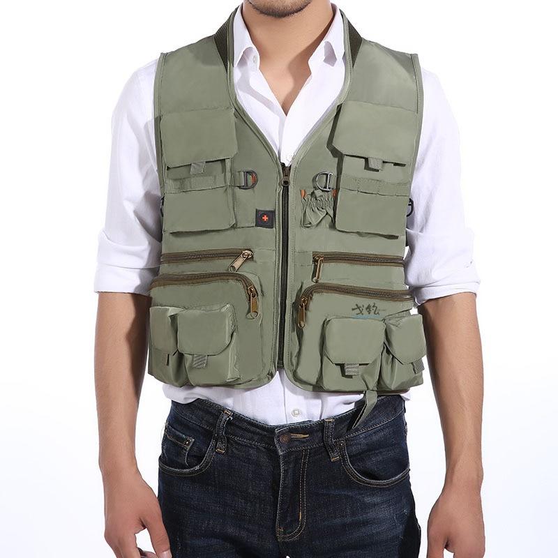 Waterproof Mens Outdoor Fishing Vest Photography Camping Hunting Multi Pocket Nylon Cotton Waistcoat Fishing Jackets