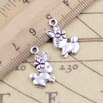 20pcs Charms Double Sided Rabbit 18x20mm Tibetan Bronze Silver Color Pendants Antique Jewelry Making DIY Handmade Craft 50g 100g letters mixed charms pendants vintage antique bronze silver bracelets necklaces craft metal alloy diy jewelry making