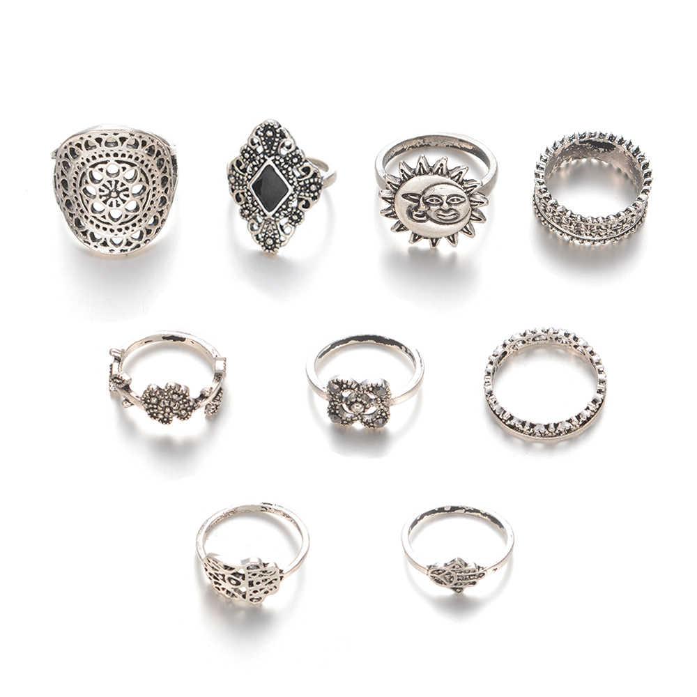 Conjuntos Anel Midi Anéis Para As Mulheres Boho Flor 9 judeu pçs/lote Sun Moon Coroa Do Vintage Black Stone Jóias Palácio Retro feminino Bijoux