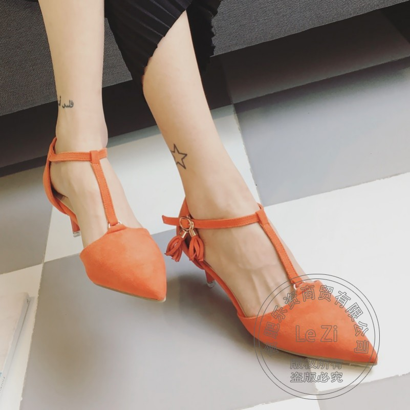 Models Leisure font b Womans b font Pumps Fall Shop Cheap Shoes Tassel Pointy T Strap