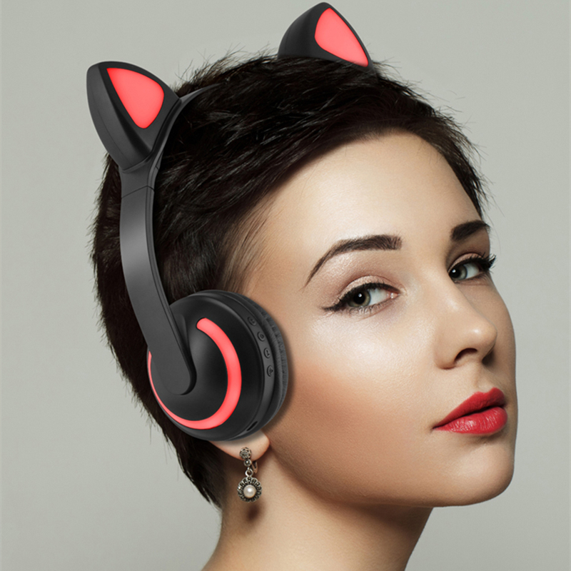 Cat Ear LED Bluetooth Headphone Wireless Headset Wired Headband HIFI Stereo Music Earphones For Mobile Phone PC with Microphone new foldable 3 5mm stereo headband headphone headset hand free call with microphone 1 5m cable for pc windows phone ios android