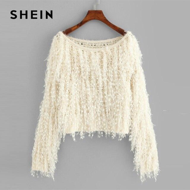 35ecd1d8f8f24 SHEIN Apricot Loose Knit Fuzzy Fringe Sweater Casual Elegant Boat Neck Long  Sleeve Crop Pullovers Women Plain Autumn Sweaters