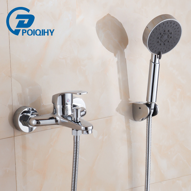 цена на Chrome Polished Brass Bath Tub Faucet Single Handle with Convenient Shower Brass Shower Head Bathroom Mixer Taps