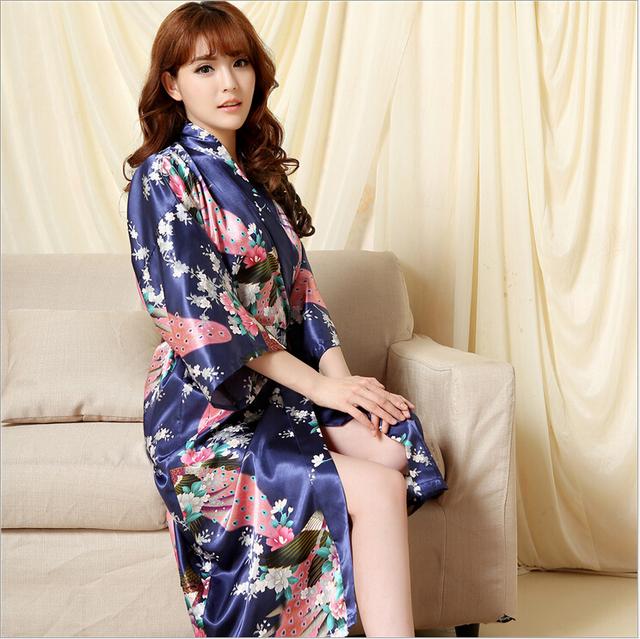 Brand Long Robe Emulation Silk Soft Home Bathrobe Plus Size Nightgown For Women Kimono Robes Autunm Spring Winter Summer