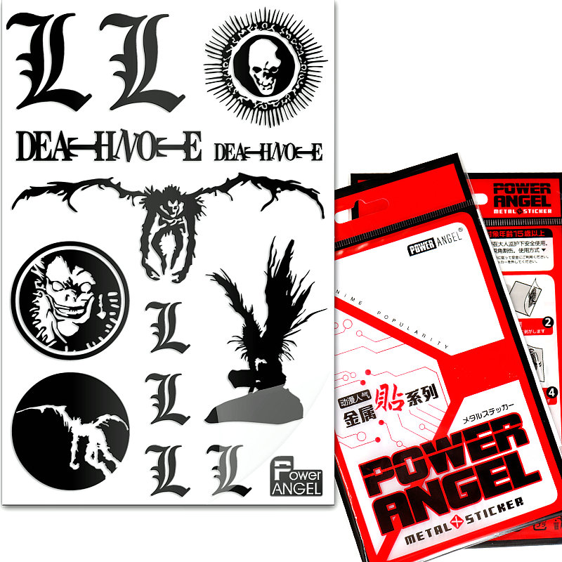 12pcs/set Death Note Anime Stickers 3D Metal Luxury Stickers For Mobile Phone Laptop Motorcycle Fridge Decals Stickers Toy Gift