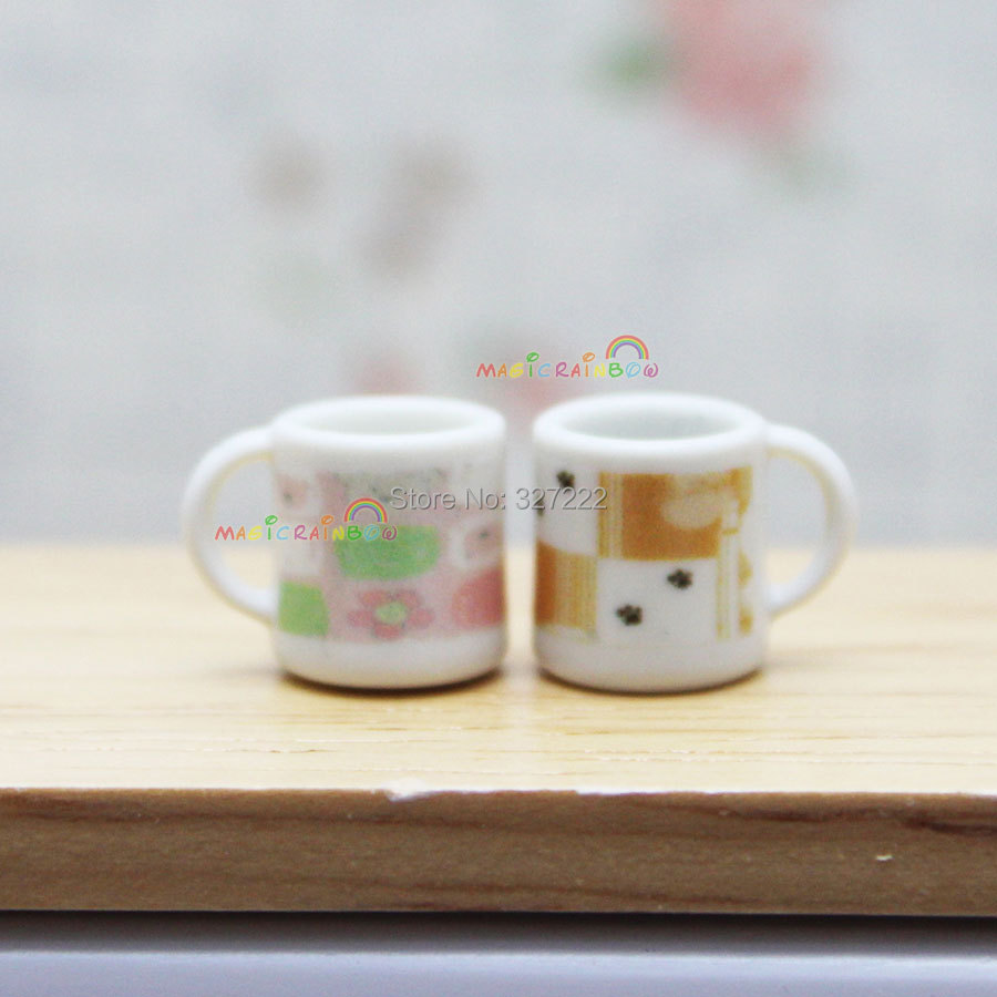 2pc Small Mini Mug Cup Dining Room Coffee Water White Dollhouse