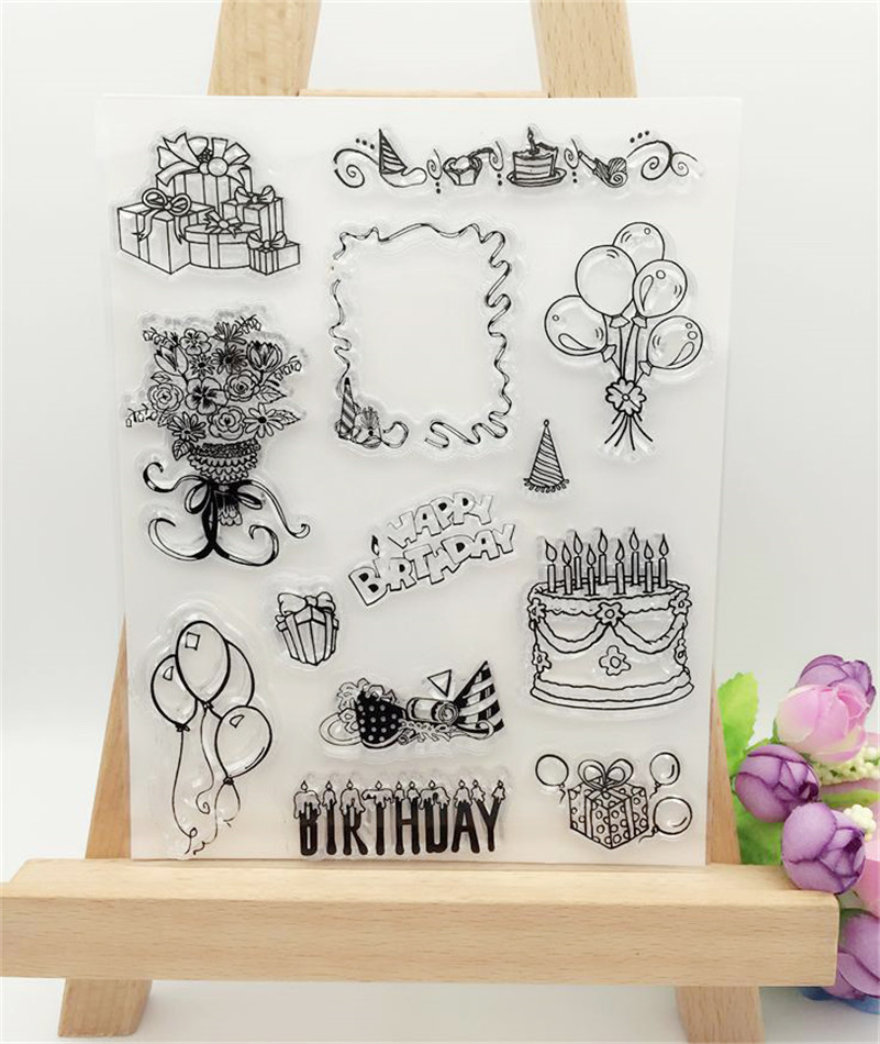 happy birthdaydesign clear stamp for diy scrapbooking paper card for wedding gift christmas gift photo album LL-185 1 design laser cut white elegant pattern west cowboy style vintage wedding invitations card kit blank paper printing invitation