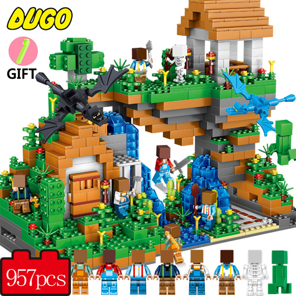 957pcs Minecrafted Plastic Action Blocks Figure Toy Compatible Legoe Minecraft City Building Blocks Education Toys For Children decool 3117 city creator 3 in 1 vacation getaways model building blocks enlighten diy figure toys for children compatible legoe
