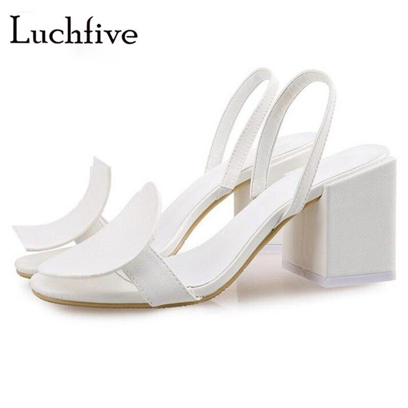 De Sandales Chunky Style À Chaussures Bout Glissement Slingbacks Mujer Blanc Sur Nouveau Ouvert D'été Ronde Talons Femmes Haut Sexy White YAqtYSxwn