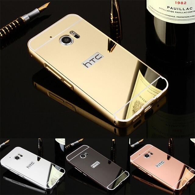 Для HTC M10 Роскошные Золотое Покрытие Броня Алюминиевая Рама + Зеркало Акриловые задняя Крышка Телефона Case Для HTC One M10 Набор Горячий Телефон case