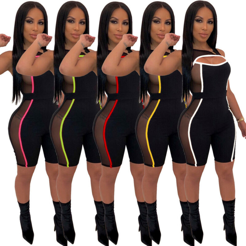 Summer Women Striped Jumpsuit Party Short Pant Sleeveless Romper Workout Slim Fit Stretchy Playsuit Clubwear S M L XL 2XL