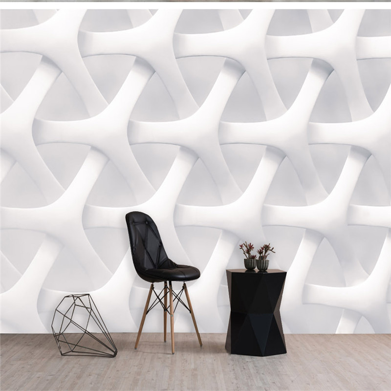 Custom Photo Wallpapers for Walls 3D Murals Modern White Geometric Wall Papers for Living Room Home Decor Bedroom Wall Painting sea world 3d wallpaper murals for living room bedroom photo print wallpapers 3 d wall paper papier modern wall coverings