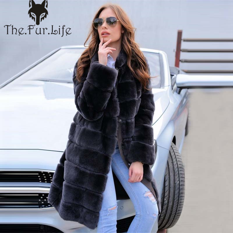 90cm New Full Pelt Real Rex Rabbit Fur Coat Female Natural High Quality Rabbit Fur Jackets Stand Collar Warm   Big Sale S-8XL