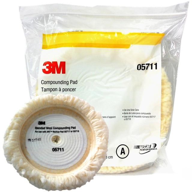 Kit de polimento de lã para carro, genuíno 3m 05711 22.8cm esponja de limpeza do carro, tampão de feltro polimento automotivo