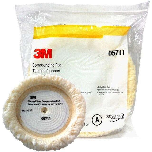Kit de pulido de lana de coche auténtica, 3M, 05711, 22,8 cm, esponja para lavado de coche, almohadilla de limpieza, amortiguador, capó de fieltro, pulido automotriz
