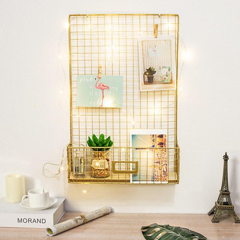 Nordic Style Creative Gold Wrought Iron Grid Storage Rack Message Board Photo DIY Shelves for Wall Home Decorations Organizer herramientas para el aseo de la casa