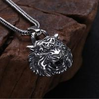 NEW 100% 925 Silver Tiger Pendant Necklace 925 Sterling Silver Power Tiger Head Pendant Good Luck Beast Pendant