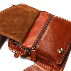 Image 5 - Yeni yüksek kalite Vintage rahat çılgın at deri hakiki inek derisi erkek göğüs çantası küçük postacı çantası adam için