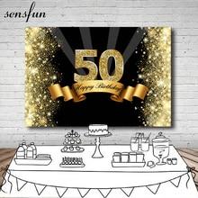 Sensfun Fotografia Fundo Preto Sparkly Glitter Dourado Feliz 7x5FT 50th Festa de Aniversário Pano de Fundo Para Photo Studio Vinil