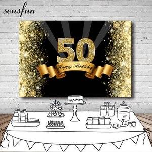 Image 1 - Sensfun photographie fond noir brillant or paillettes joyeux 50th anniversaire fête toile de fond pour Studio Photo 7x5FT vinyle