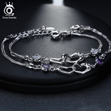 Heart Connect Women Silver Color Crystal Bracelet