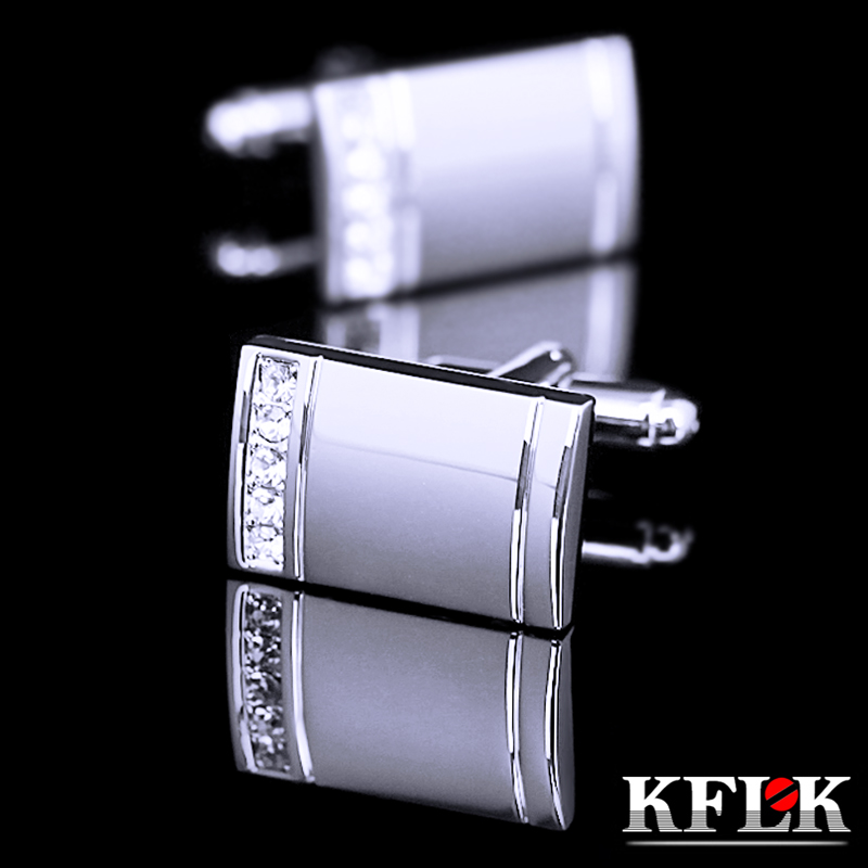 KFLK Luxury 2017 NEW HOT shirt Silver cufflinks for mens gifts Brand cuff buttons Crystal cuff links High Quality Jewelry spade ace pattern electroplating brass cuff links buttons silver black pair