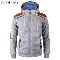 2018 Men S Leather Patch Designed Zipper Hoodies Fleece Warm Autumn Spring Hooded Sweatshirt Casual Knitting
