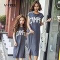 V-tree verano vestidos 2017 de la familia de madre e hija trajes a juego vestido largo family clothing madre e hija ropa