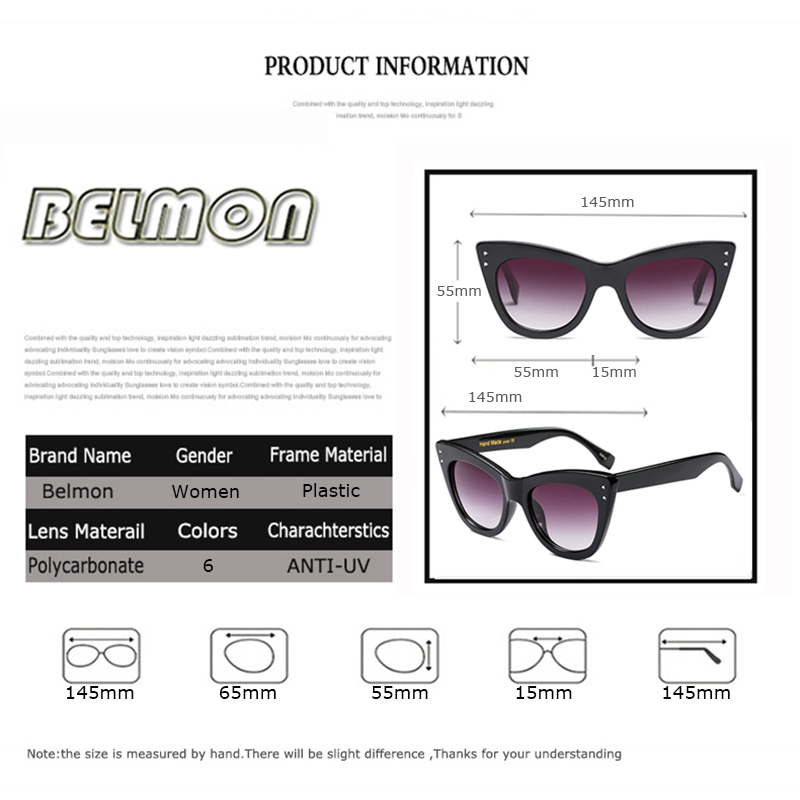 Belmon Fashion Cat Eye Sunglasses Women Luxury Brand Designer Sun Glasses For Ladies Vintage Cateye Female Gradient RS389 in Women 39 s Sunglasses from Apparel Accessories