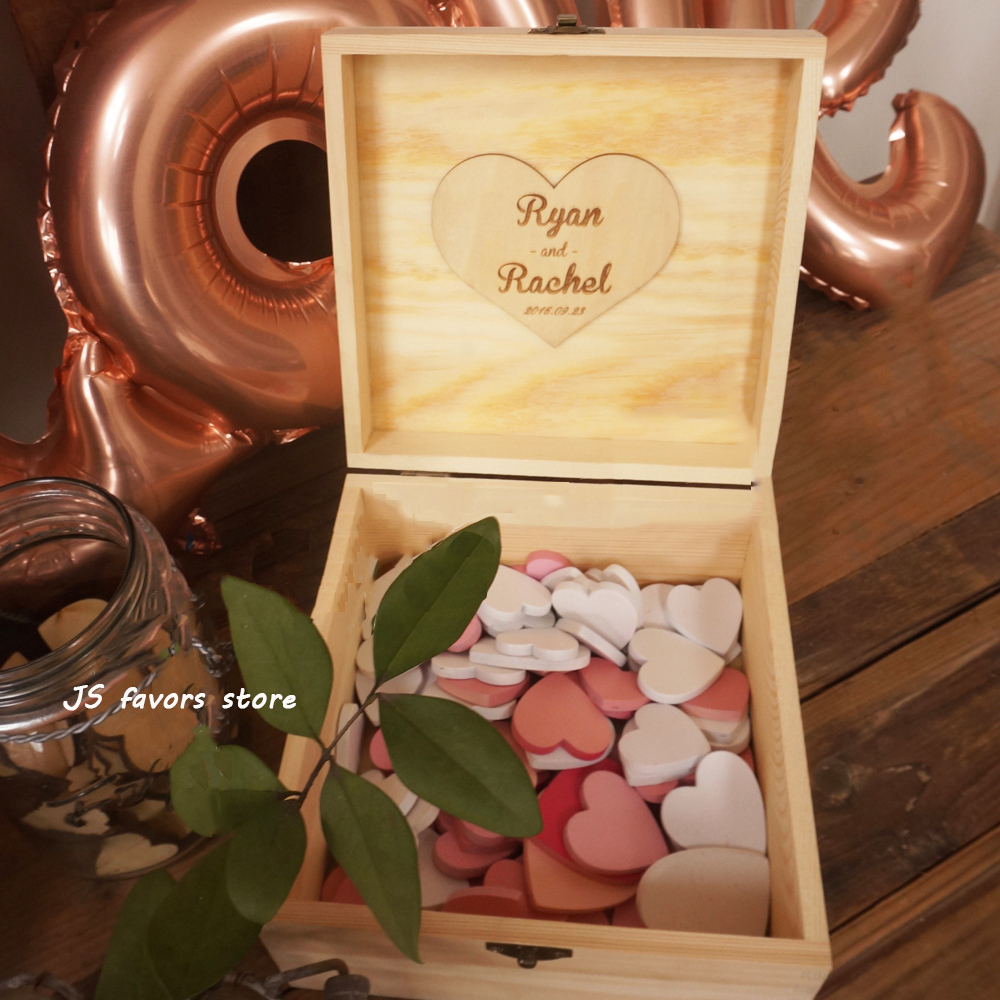 Livraison gratuite 1 set boîte en bois personnalisée avec lettrage personnalisé et bois coloré nom de mariage signature coeur comme livre d'or