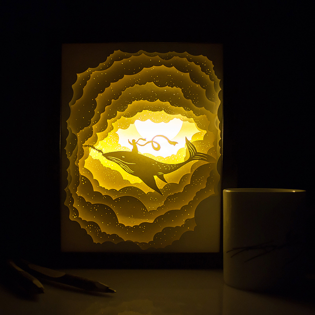 Kingneonlux Light And Shadow Paper Carved Lights Cloud Whale Ling DIY  Handmade 3d Lights Creative Gift