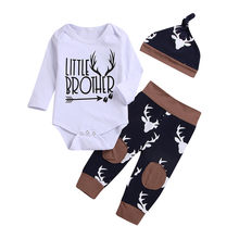 Newborn Toddler Infant Baby Boy Girl Spring Autumn Cotton Clothes Gray Letter Romper Top + Deer Printing Pants + Hat Outfits Set(China)